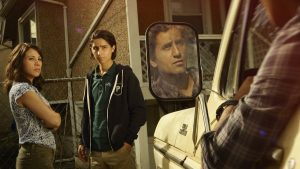 Elizabeth Rodriguez as Liza, Lorenzo James Henrie as Chris and Cliff Curtis as Travis - Fear the Walking Dead _ Season 1, Gallery - Photo Credit: Frank Ockenfels 3/AMC